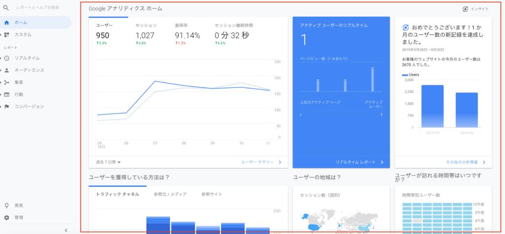 Google アナリティクス ホーム画面
